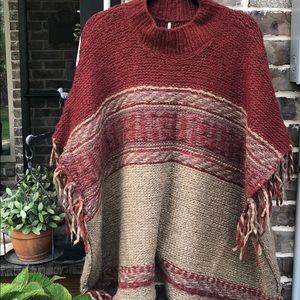 Free People+Pancho+Labyrinth style Knit+Cape